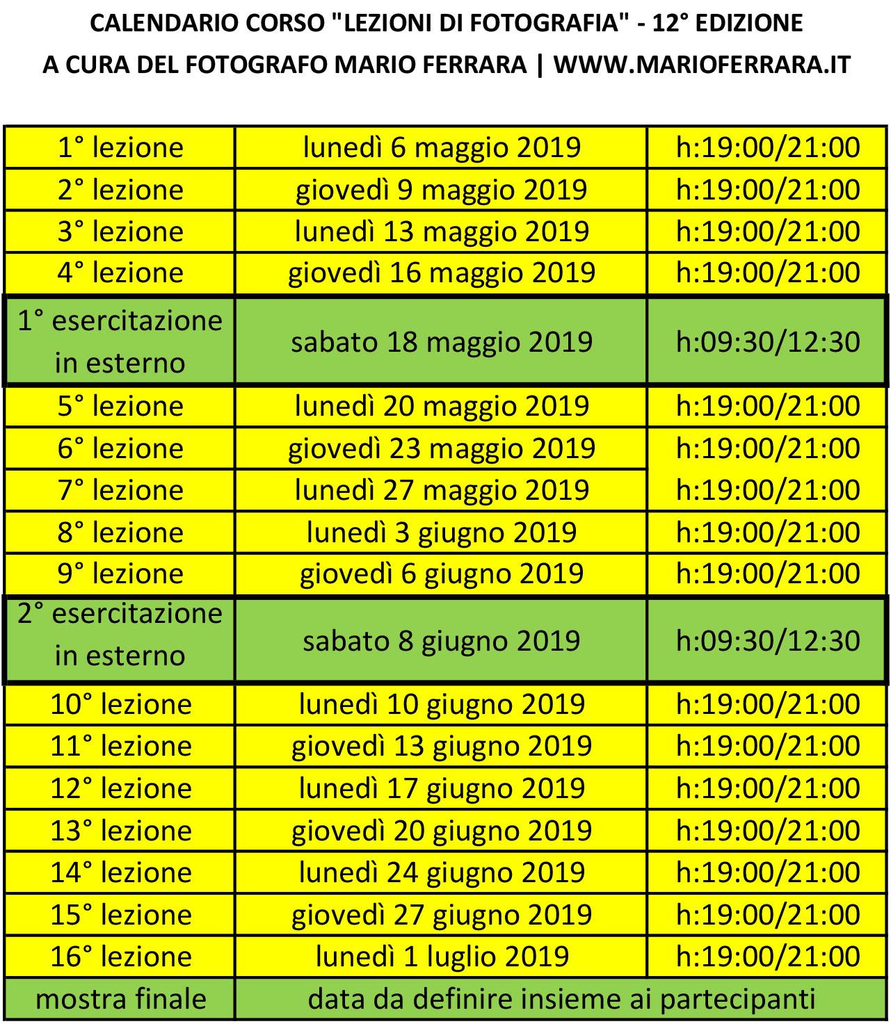 Calendario Maggio Giugno Luglio 2019.Calendario Delle Lezioni Spazio Tangram Napoli