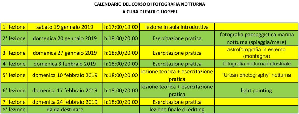 calendario del corso di fotografia notturna - a cura di Paolo Liggeri