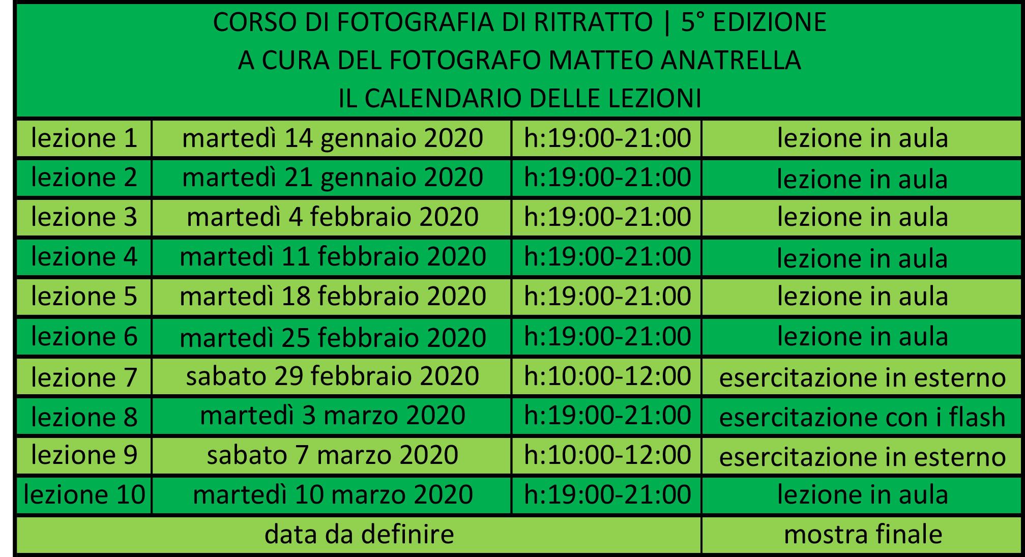 calendario delle lezioni del corso di fotografia di ritratto