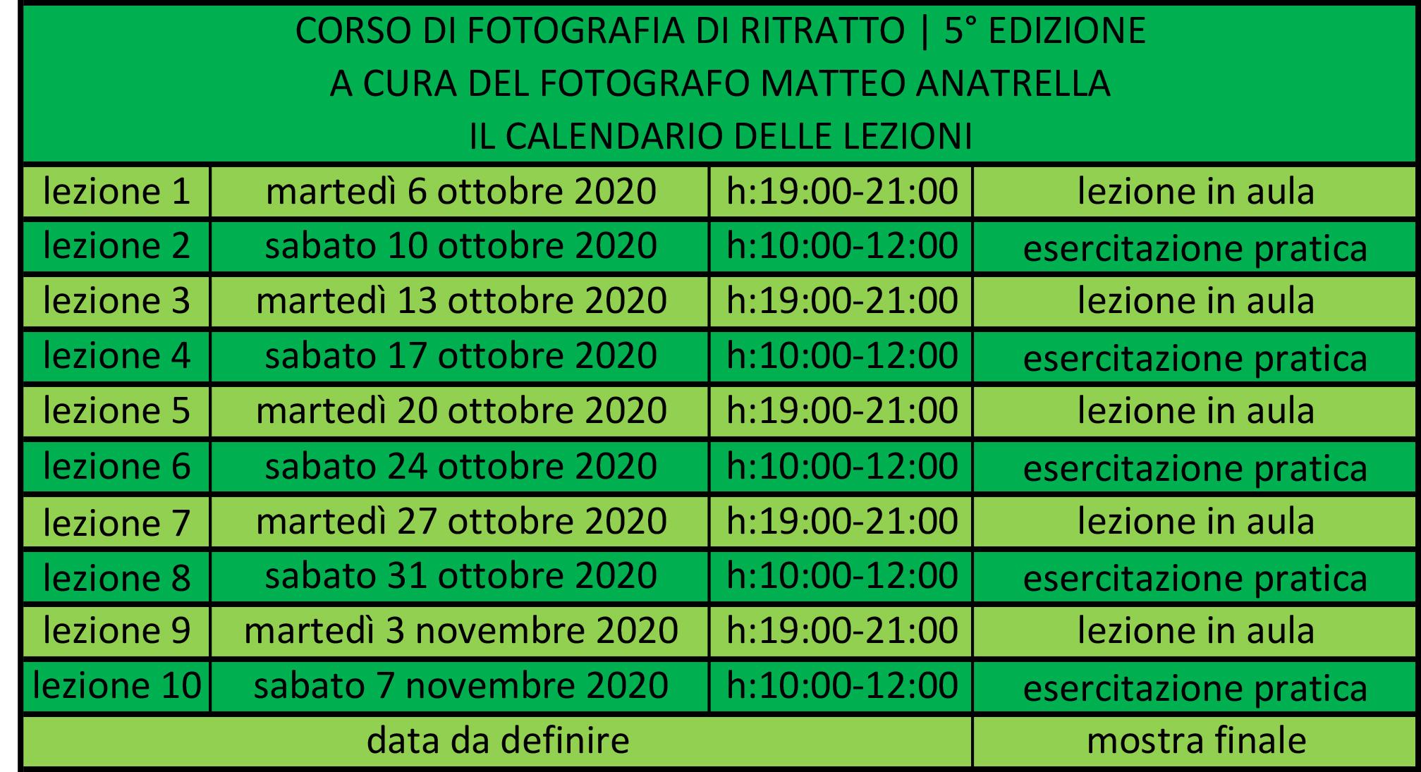 Il calendario del corso di fotografia di ritratto a Napoli