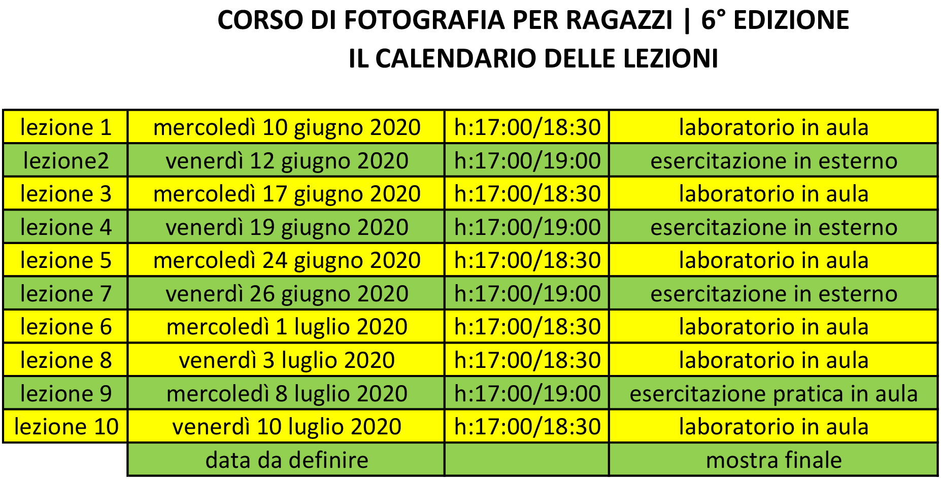 corso di fotografia per ragazzi a Napoli| il calendario con le lezioni