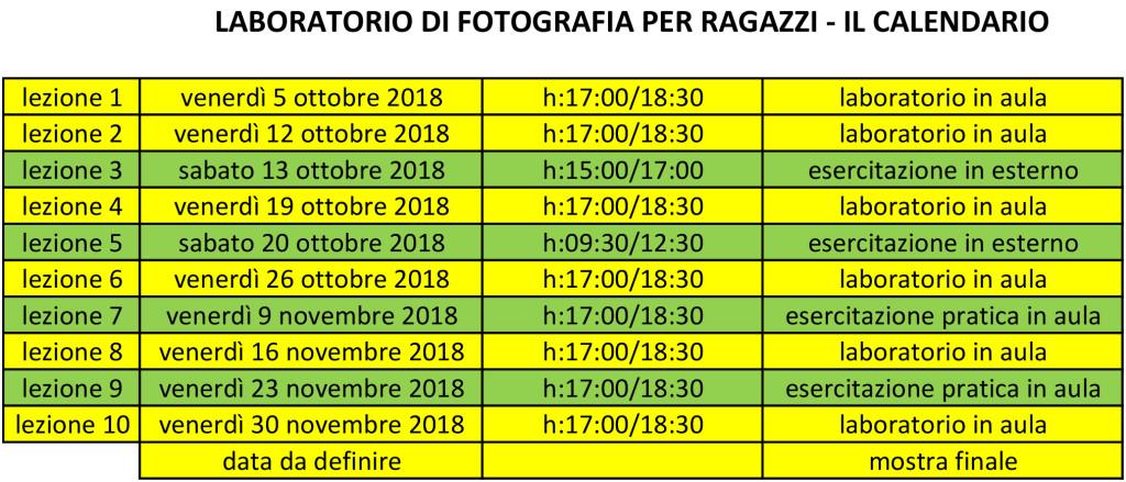 Il calendario del corso di fotografia per ragazzi