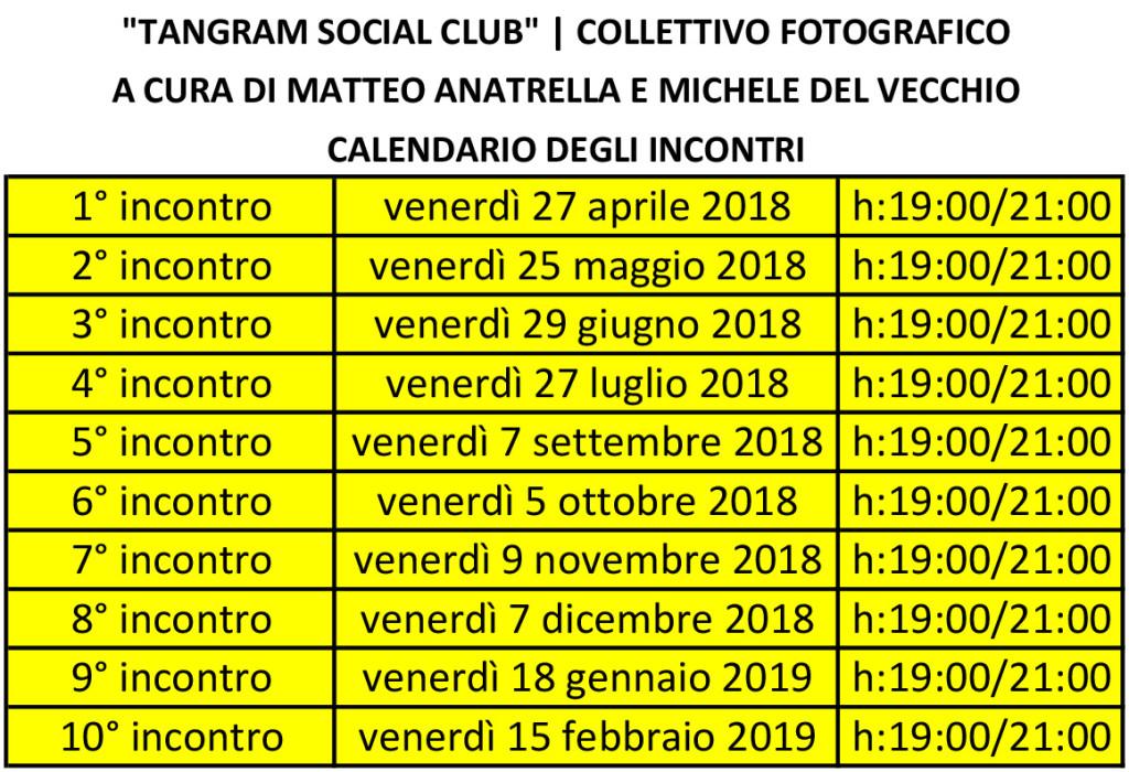 Tangram Social Club   il calendario degli incontri