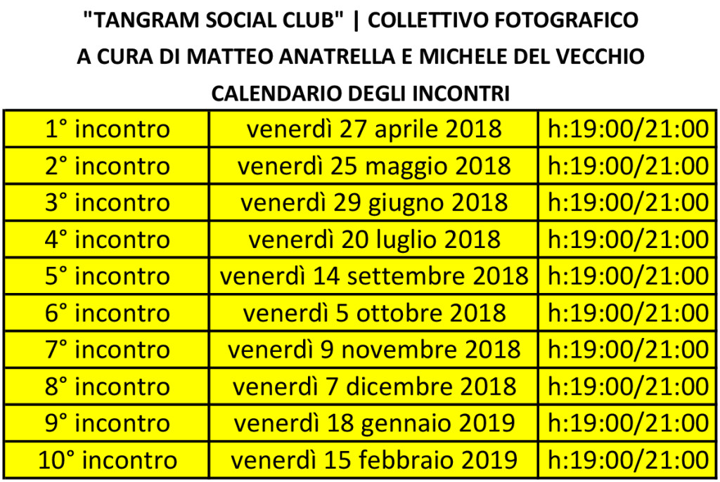 Tangram Social Club | il calendario degli incontri