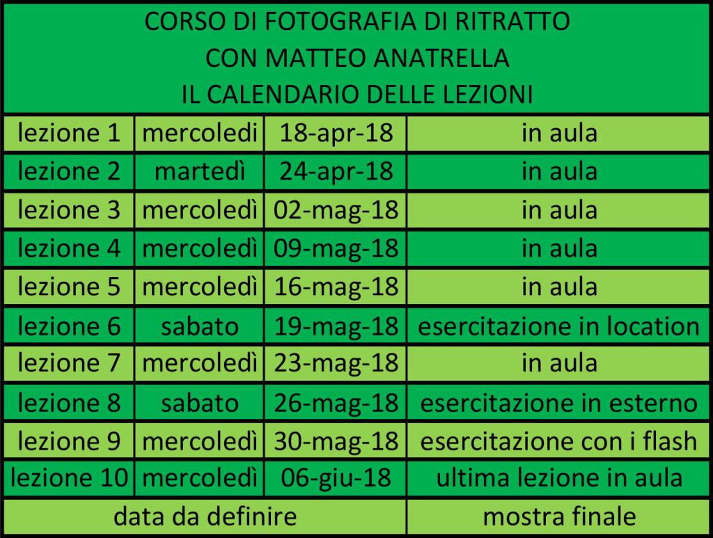 il calendario delle lezioni