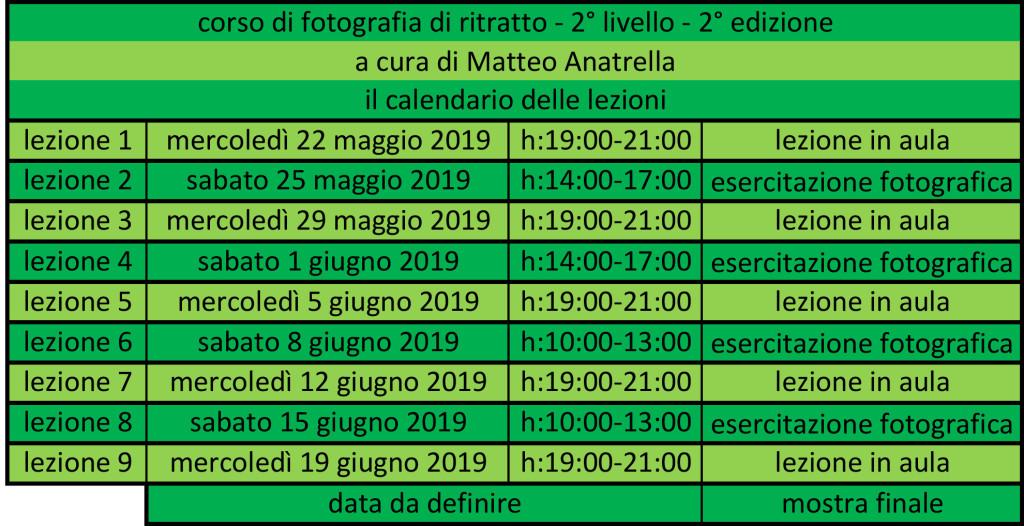 calendario del corso di ritratto 2° livello