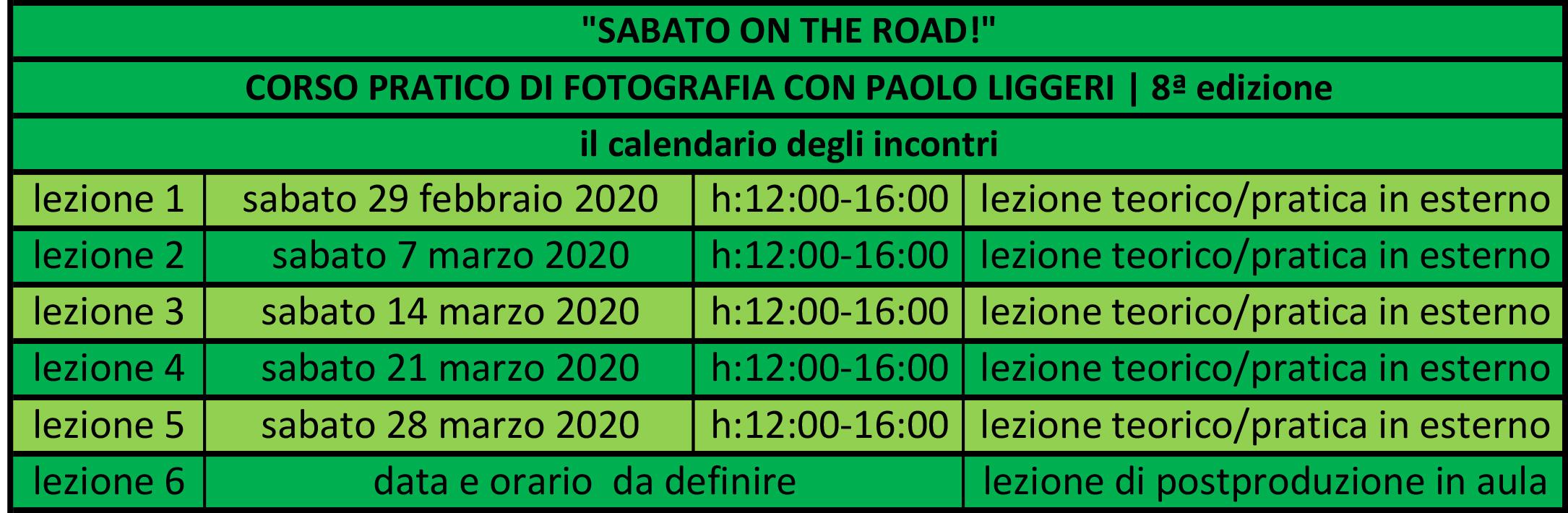 calendario incontri corso SABATO ON THE ROAD edizione n°7
