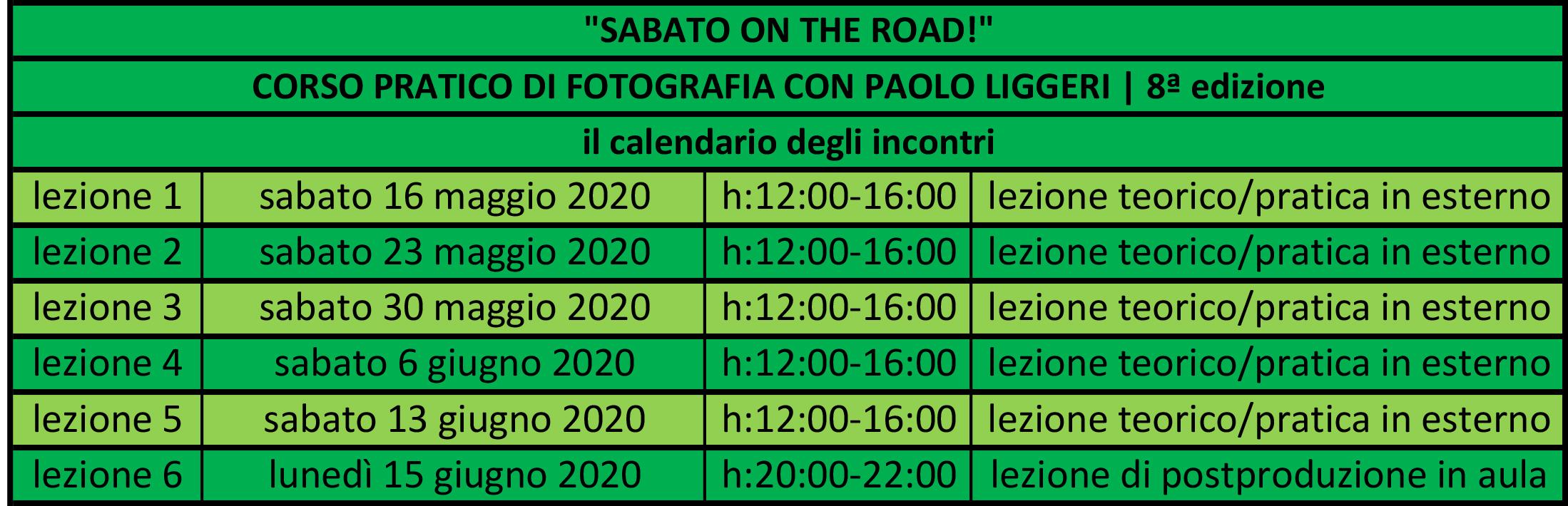 calendario incontri corso SABATO ON THE ROAD edizione n°8