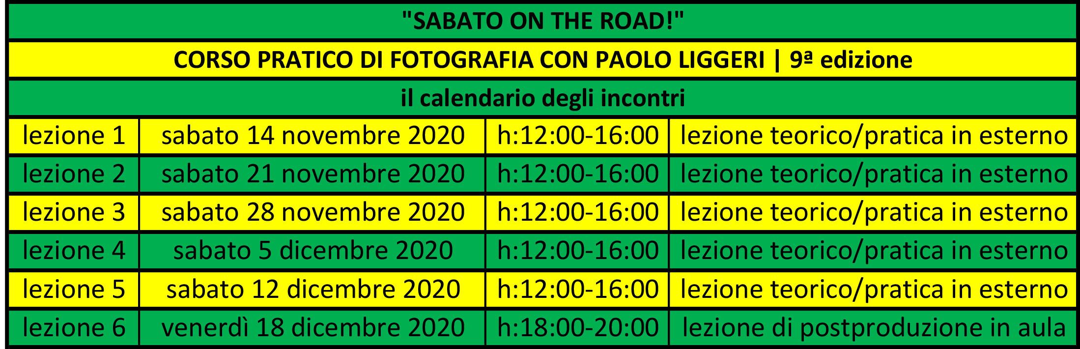 calendario incontri corso SABATO ON THE ROAD edizione n°9