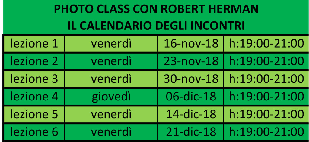 calendario incontri della Photo Class con Robert Herman