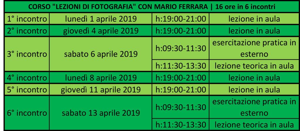 Lezioni di fotografia - corso intensivo | il calendario delle lezioni