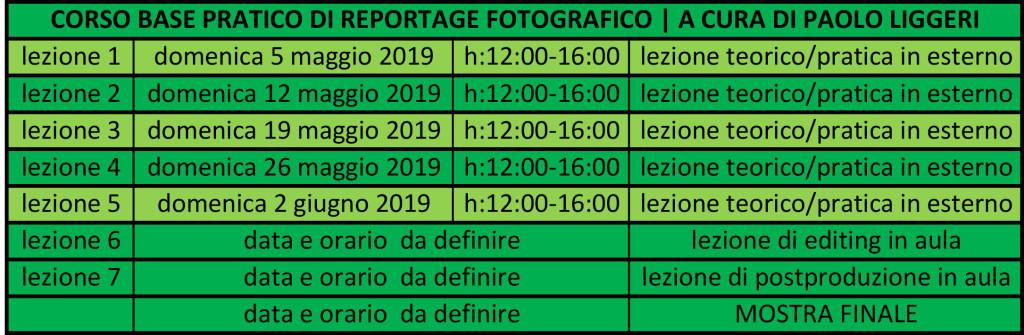 Calendario incontri corso di reportage fotografico