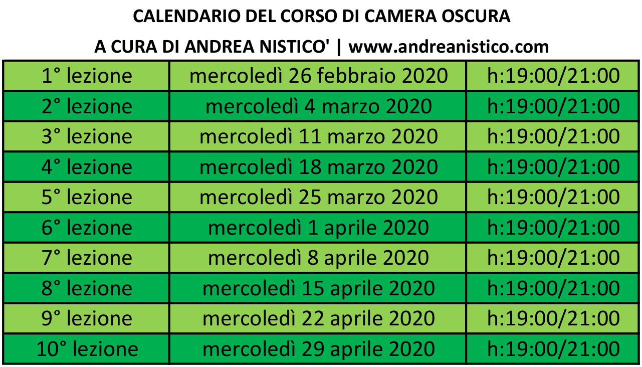calendario corso di camera oscura a Napoli