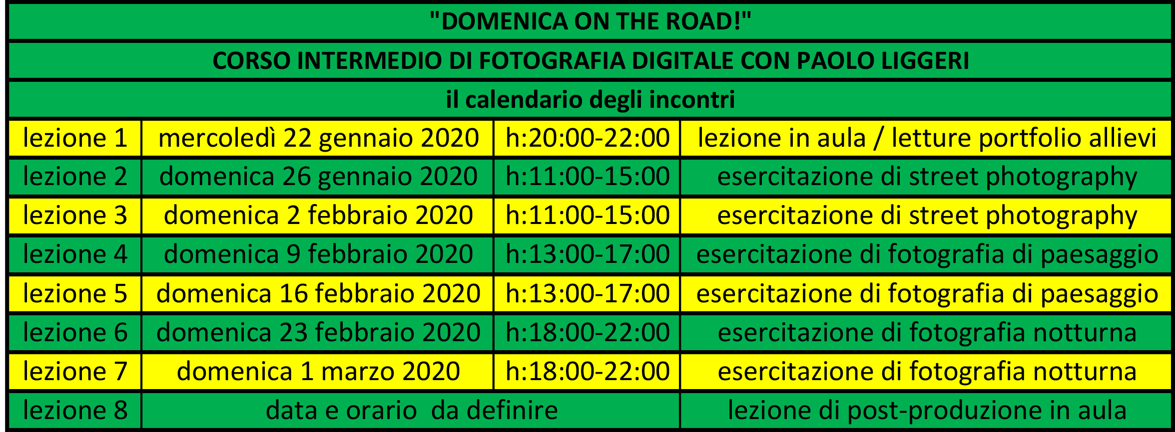 calendario incontri DOMENICA ON THE ROAD