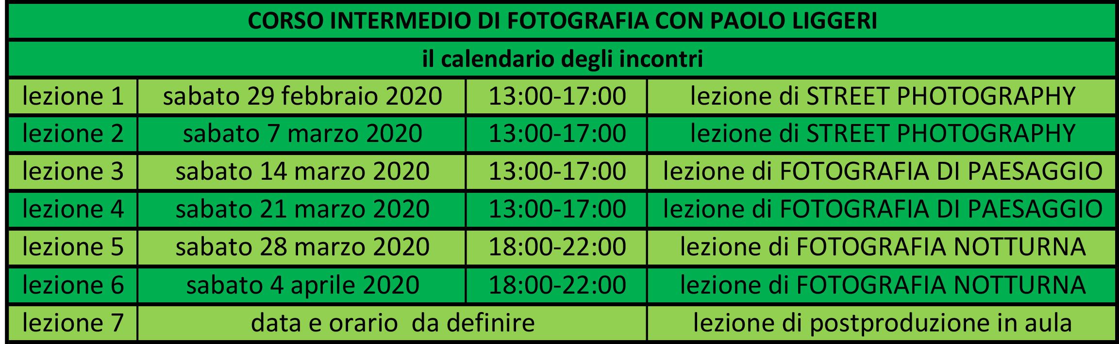 calendario incontri CORSO INTERMEDIO di sabato