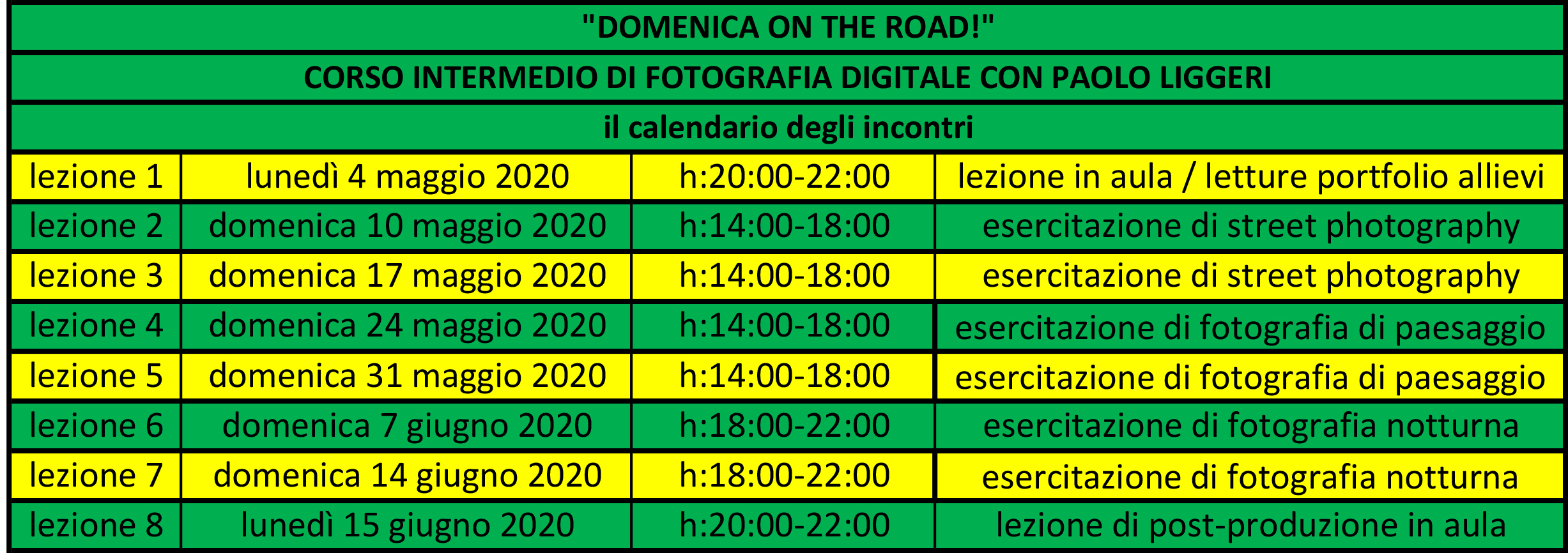 "calendario incontri corso intermedio di fotografia ""DOMENICA ON THE ROAD"""