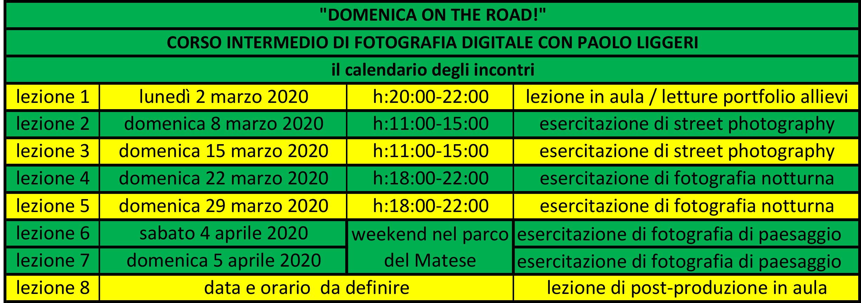 calendario incontri DOMENICA ON THE ROAD