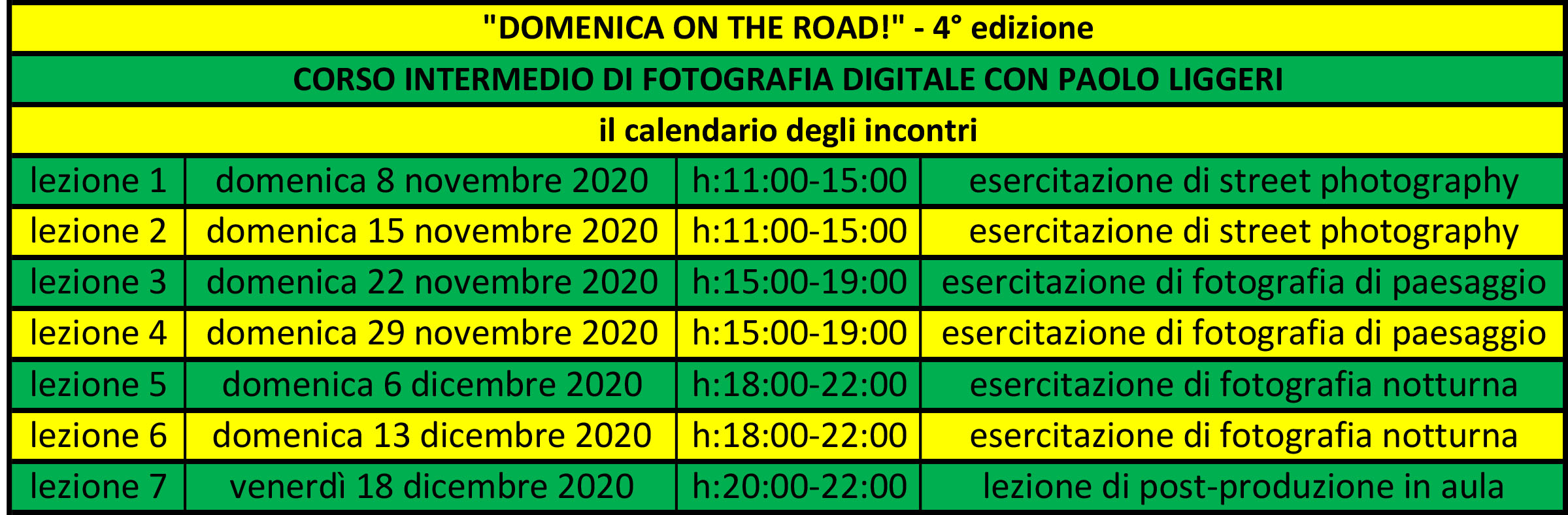 "il calendario del corso intermedio di fotografia ""Domenica on the road!"""