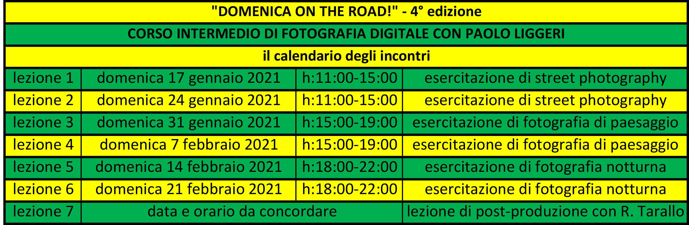 """il calendario del corso intermedio di fotografia """"Domenica on the road!"""""""
