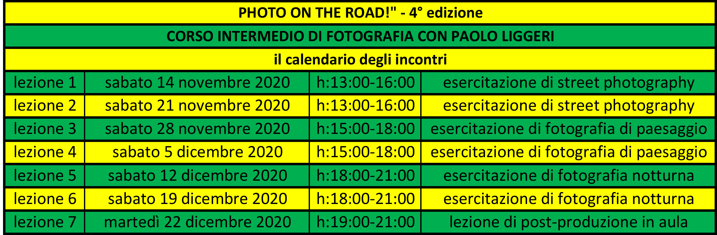 """il calendario del corso intermedio di fotografia """"Photo on the road!"""""""