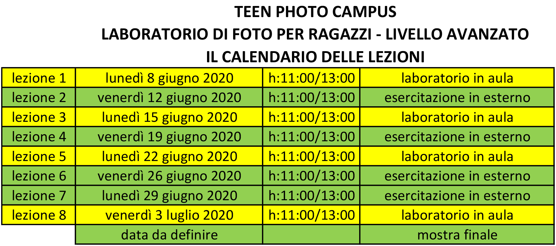 Teen Photo Campus - il calendario con le lezioni