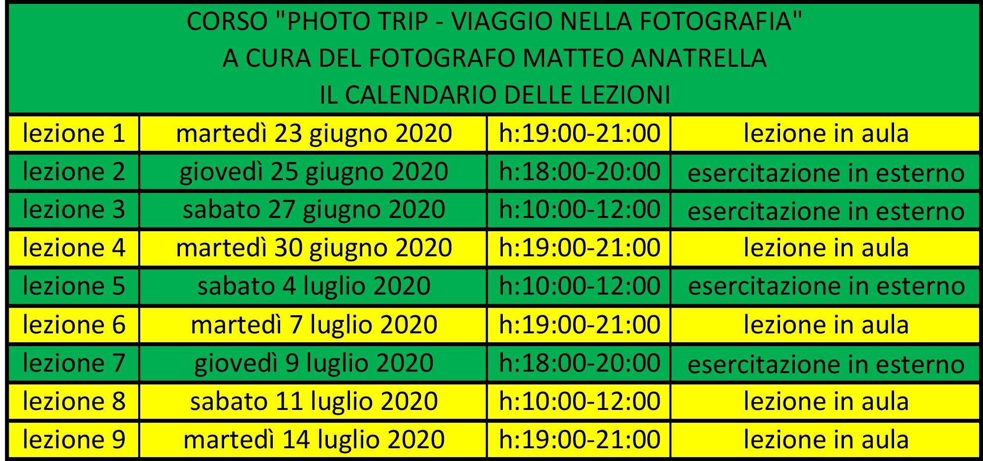 """il calendario delle lezioni del corso """"Photo Trip - viaggio nella fotografia"""""""