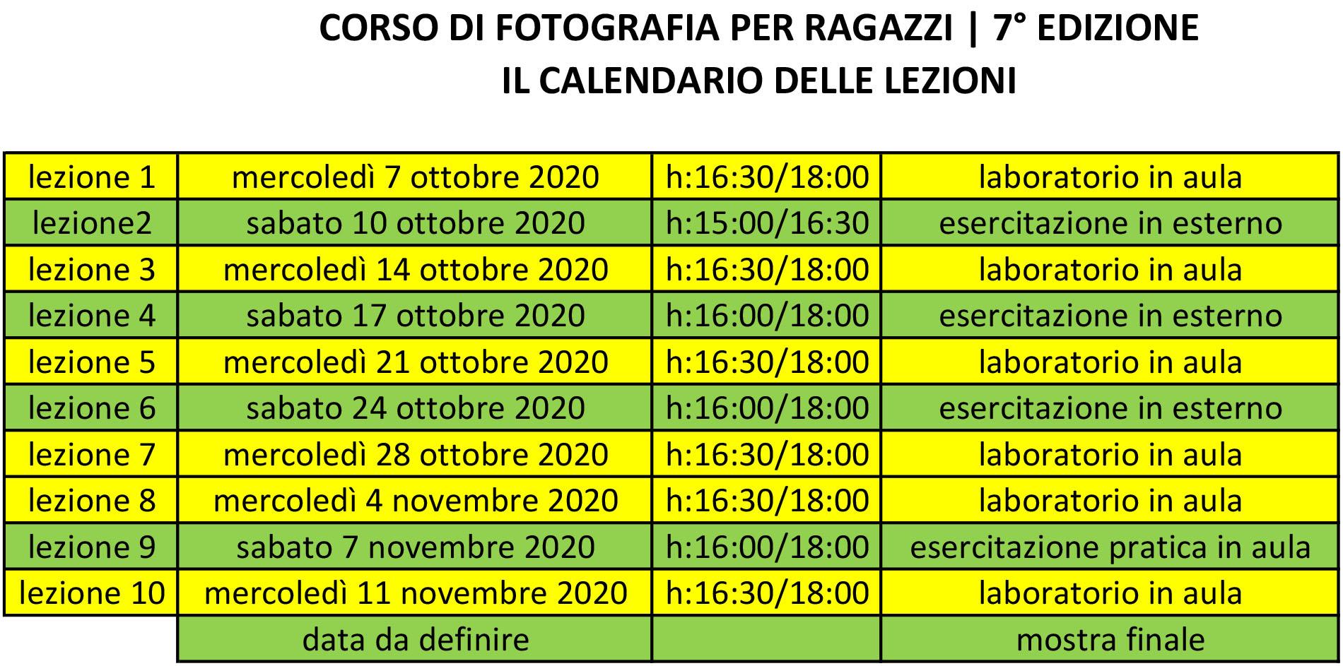 Corso di fotografia per ragazzi - il calendario con le lezioni