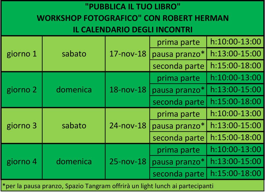 il calendario degli incontri del workshop sull'editing del libro fotografico con Robert Herman