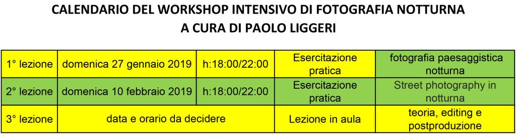 calendario del workshop intensivo di fotografia notturna - a cura di Paolo Liggeri