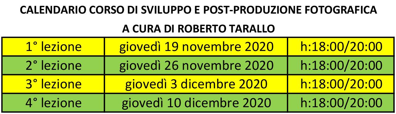 calendario corso di post produzione fotografica
