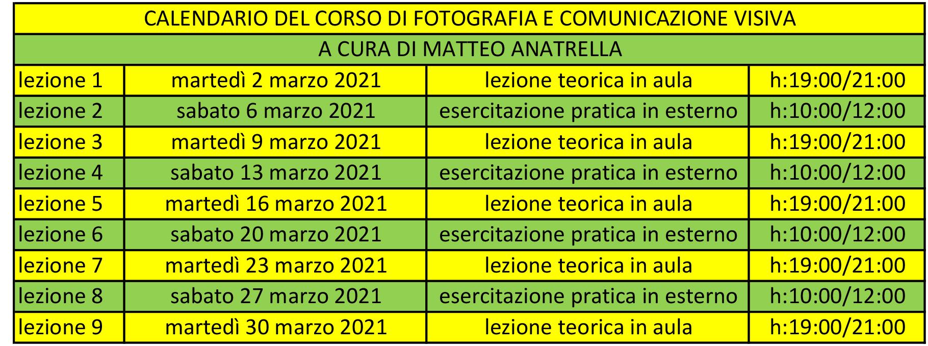 calendario corso di fotografia e comunicazione visiva