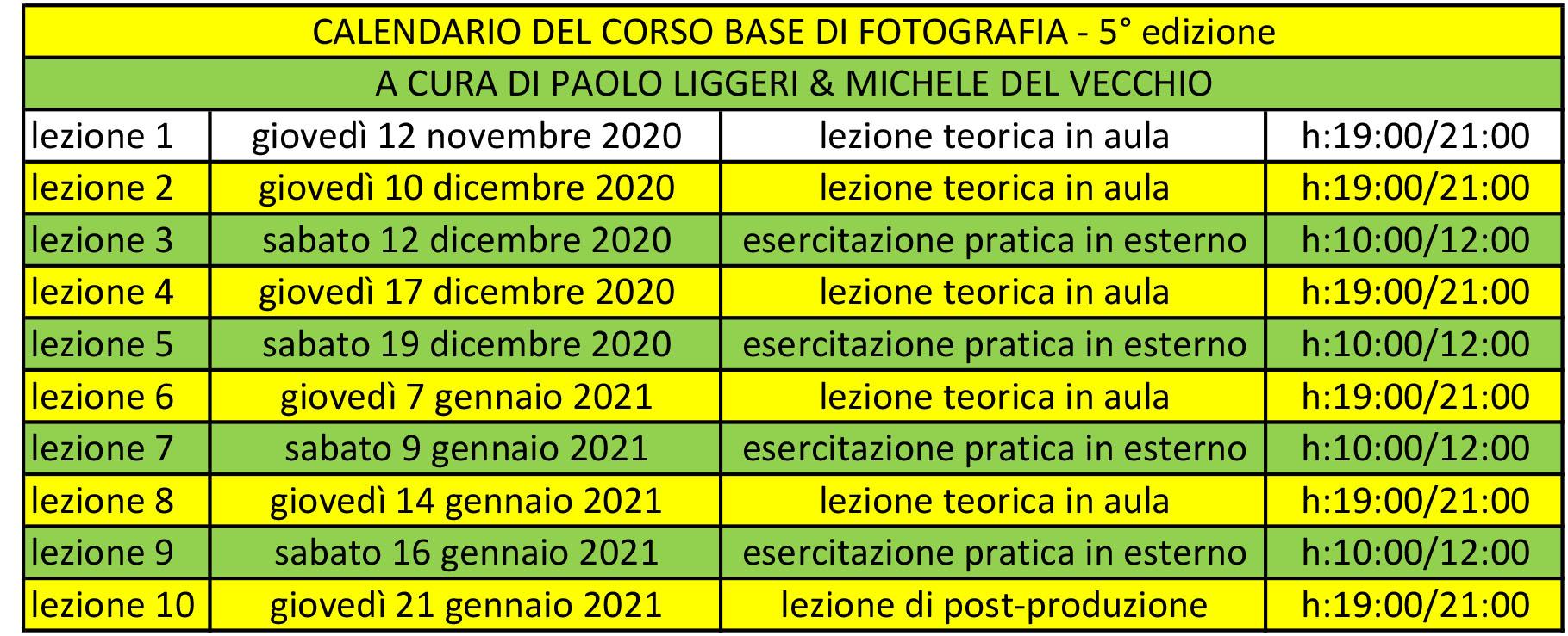 calendario corso base di fotografia